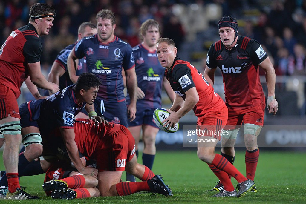 Andy Ellis of the Crusaders looks to pass the ball during the round 11 Super Rugby match between the Crusaders and the Reds at AMI Stadium on May 6, 2016 in Christchurch, New Zealand.