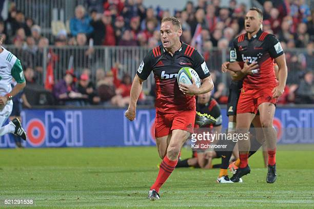 Andy Ellis of the Crusaders runs through to score a try during the round eight Super Rugby match between the Crusaders and the Jaguares at AMI...