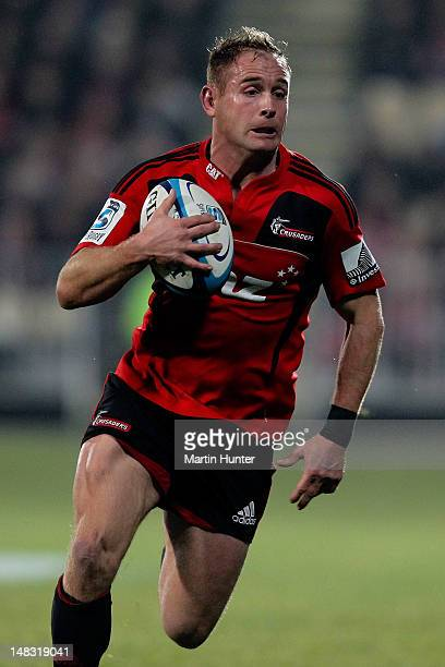 Andy Ellis of the Crusaders runs with the ball during the round 18 Super Rugby match between the Crusaders and the Force on July 14 2012 in...