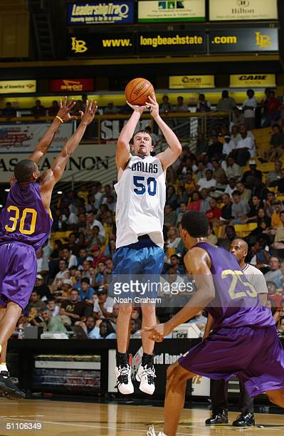 Andy Ellis of the Dallas Mavericks shoots against the Los Angeles Lakers during the 2004 Southern California Summer League game at the University of...