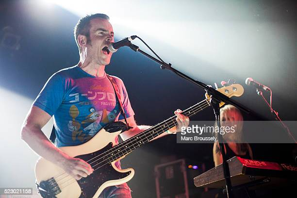 Andy Falkous and Julia Ruzicka of Future of the Left perform on stage at Electric Ballroom on April 21 2016 in London England