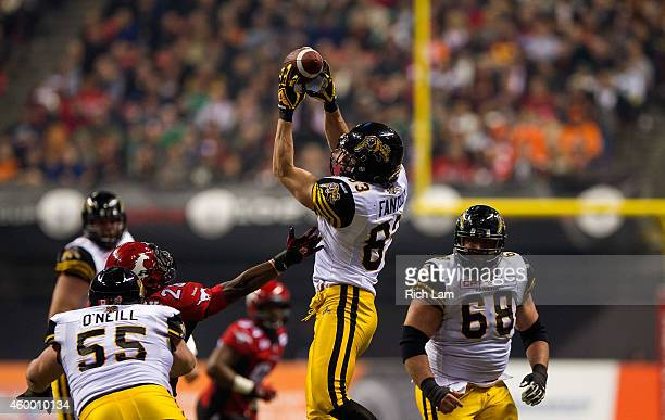 Andy Fantuz of the Hamilton TigerCats catches the ball during the 102nd Grey Cup Championship Game against the Calgary Stampeders at BC Place...