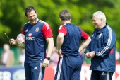 Andy Farrell Rob Howley and Warren Gatland share a conversation during the British and Irish Lions media session held at Carton House on May 20 2013...