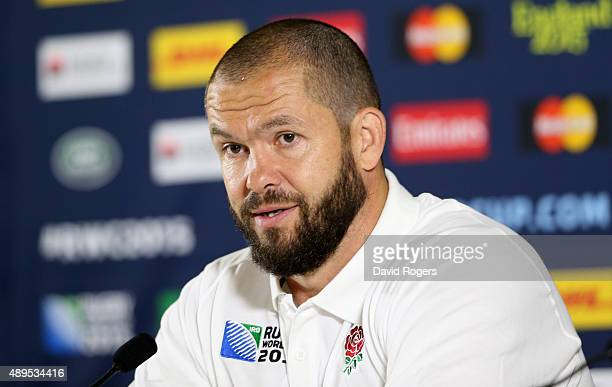 Andy Farrell the England backs coach faces the media during the England media session at Pennyhill Park on September 22 2015 in Bagshot England