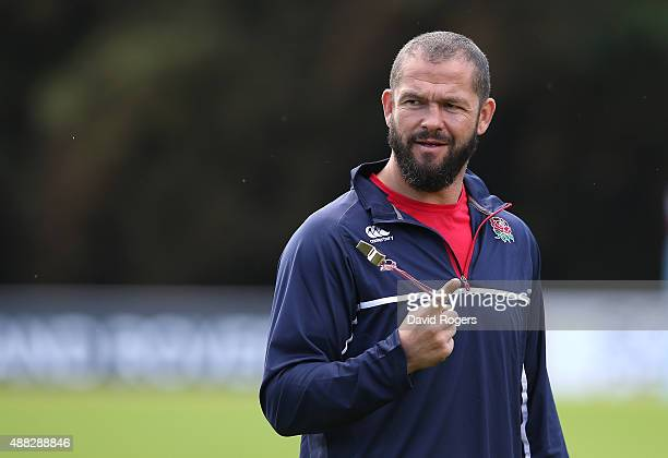 Andy Farrell the England backs coach looks on during the England training session at Pennyhill Park on September 14 2015 in Bagshot England