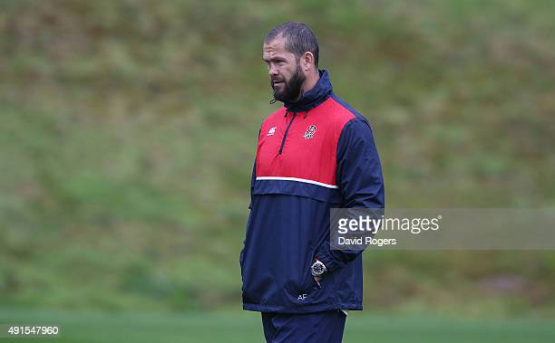 Andy Farrell the England backs coach looks on during the England training session at Pennyhill Park on October 6 2015 in Bagshot England