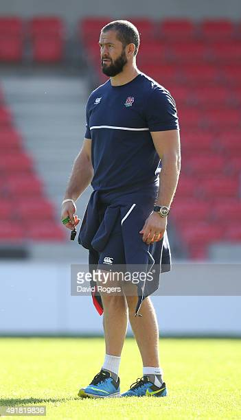 Andy Farrell the England backs coach looks on during the England training session held at the AJ Bell Stadium on October 8 2015 in Salford England