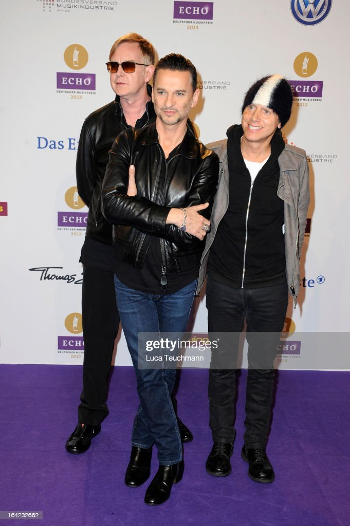 Andy Fletcher, Dave Gahan and Martin Gore attend the Echo Award 2013 at Palais am Funkturm on March 21, 2013 in Berlin, Germany.