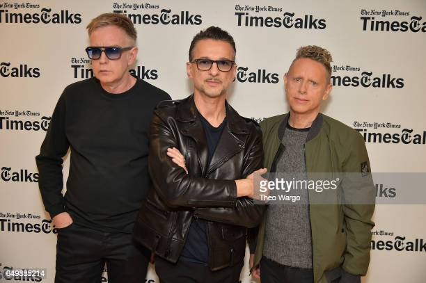 Andy Fletcher Dave Gahan and Martin Gore attend TimesTalks Presents Depeche Mode at Jack H Skirball Center for the Performing Arts on March 8 2017 in...