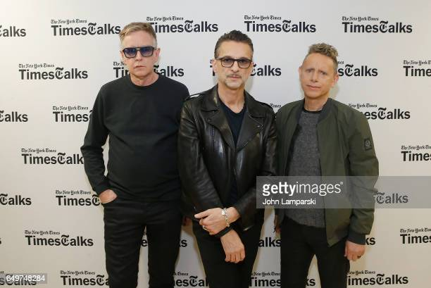 Andy Fletcher Dave Gahan and Martin Gore of Depeche Mode attend 'TimesTalks Presents Depeche Mode' at Jack H Skirball Center for the Performing Arts...