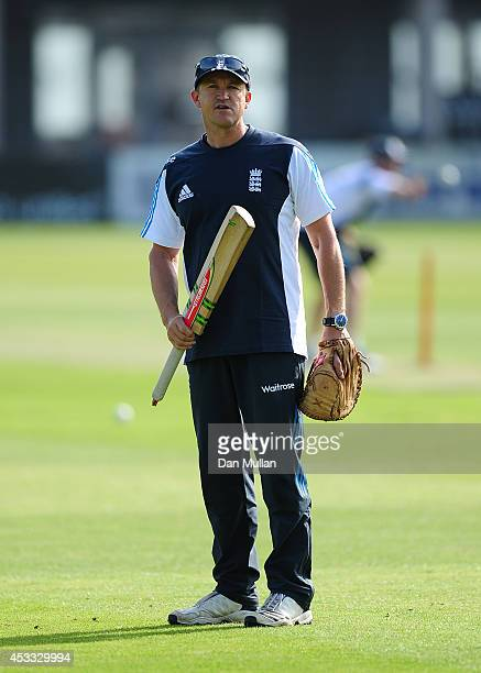 Andy Flower Head Coach of England Lions looks on ahead of the Triangular Series match between England Lions and New Zealand A at The County Ground on...