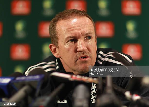 Andy Flower of England speaks to the media during a press conference at the Sofitel Hotel on November 22 2010 in Brisbane Australia