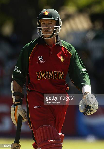 Andy Flower of Zimbabwe wearing a white arm band as a sign of peace during the ICC Cricket World Cup 2003 Pool A match between Zimbabwe and Australia...
