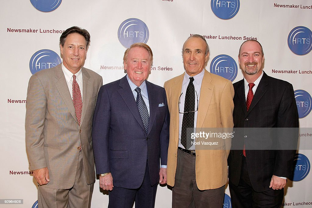 Andy Friendly Vin Scully Ron Shelton and Dave Ferrera attend the HRTS Newsmaker Luncheon honoring the broadcast legend at the Beverly Wilshire Hotel...