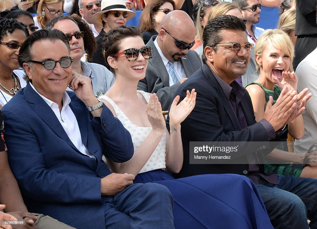 <a gi-track='captionPersonalityLinkClicked' href=/galleries/search?phrase=Andy+Garcia&family=editorial&specificpeople=156410 ng-click='$event.stopPropagation()'>Andy Garcia</a>, <a gi-track='captionPersonalityLinkClicked' href=/galleries/search?phrase=Anne+Hathaway+-+Actress&family=editorial&specificpeople=11647173 ng-click='$event.stopPropagation()'>Anne Hathaway</a>, <a gi-track='captionPersonalityLinkClicked' href=/galleries/search?phrase=George+Lopez&family=editorial&specificpeople=202546 ng-click='$event.stopPropagation()'>George Lopez</a> and <a gi-track='captionPersonalityLinkClicked' href=/galleries/search?phrase=Kristin+Chenoweth&family=editorial&specificpeople=207096 ng-click='$event.stopPropagation()'>Kristin Chenoweth</a> attends Miami Walk of Fame Inauguration at Bayside at Bayside Marketplace on March 21, 2014 in Miami, Florida.
