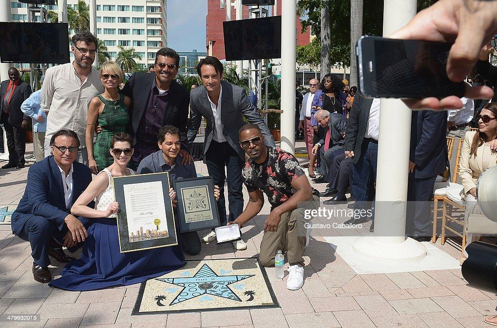 Andy Garcia, Anne Hathaway, Kristin Chenoweth, George Lopez, Carlos Saldanha, Rodrigo Santoro and Jamie Foxx attends Miami Walk Of Fame Inauguration at Bayside Marketplace on March 21, 2014 in Miami, Florida.