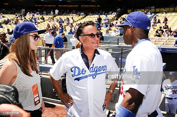 Andy Garcia attends a baseball game between the San Diego Padres and the Los Angeles Dodgers at Dodger Stadium on September 1 2013 in Los Angeles...