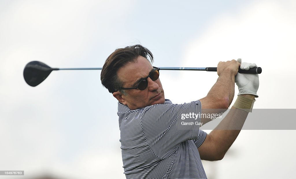 <a gi-track='captionPersonalityLinkClicked' href=/galleries/search?phrase=Andy+Garcia&family=editorial&specificpeople=156410 ng-click='$event.stopPropagation()'>Andy Garcia</a> tees of on the first hole on Day 4 of the Mission Hills World Celebrity Pro-Am at Mission Hills Haikou resort on October 21, 2012 in Haikou, China.
