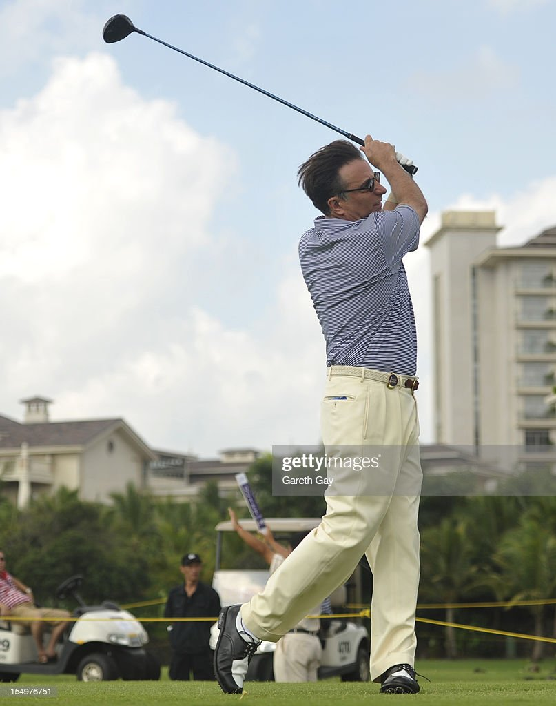 Andy Garcia tees off the first hole on Day 4 of the Mission Hills World Celebrity Pro-Am at Mission Hills Haikou resort on October 21, 2012 in Haikou, China.