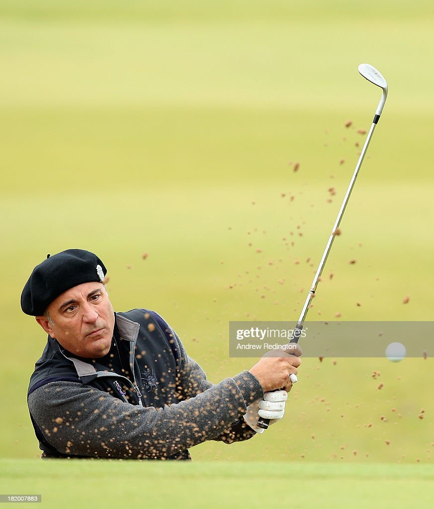 Andy Garcia, the Hollywood actor, in action during the second round of the Alfred Dunhill Links Championship at Kingsbarns Golf Links on September 27, 2013 in Kingsbarns, Scotland.