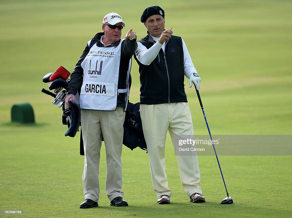 Andy Garcia with his caddy on the third tee during the third round of the Alfred Dunhill Links Championship on The Old Course, at St Andrews on September 28, 2013 in St Andrews, Scotland.