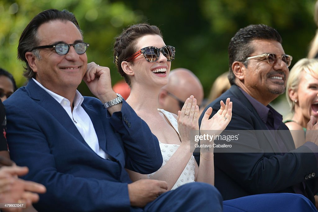 Andy Garcia,Anne Hathaway and George Lopez attends Miami Walk Of Fame Inauguration at Bayside Marketplace on March 21, 2014 in Miami, Florida.