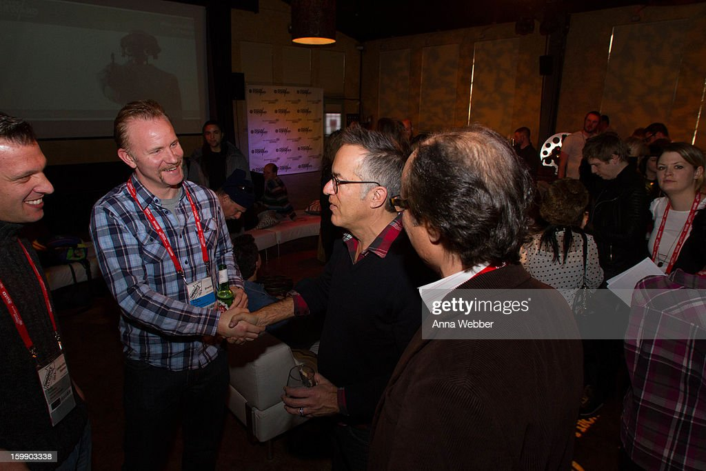Andy Goldberg, Morgan Spurlock and John Cooper attend the GE / Focus Forward - Short Films Big Ideas Filmmaker Competition Awards Ceremony - 2013 Park City on January 22, 2013 in Park City, Utah.