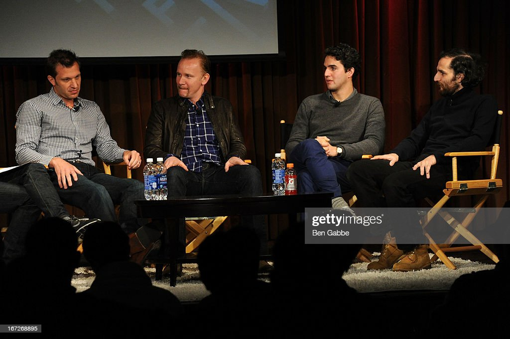 Andy Goldberg, <a gi-track='captionPersonalityLinkClicked' href=/galleries/search?phrase=Morgan+Spurlock&family=editorial&specificpeople=212719 ng-click='$event.stopPropagation()'>Morgan Spurlock</a>, Benny Safdie and Joshua Safdie speak during the Future Of Film: A Conversation With Nerdist during the 2013 Tribeca Film Festival on April 23, 2013 in New York City.