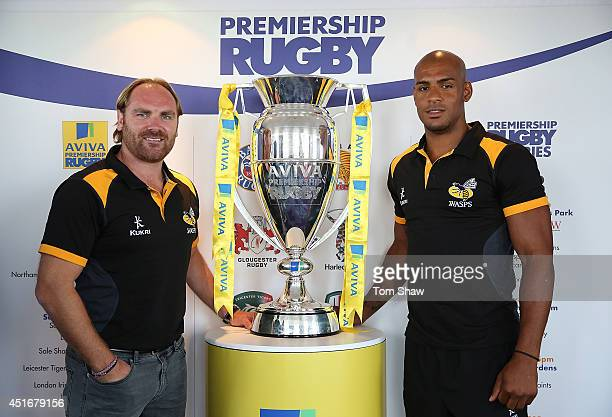 Andy Goode and Tom Varndell of Wasps pose with the trophy during the launch of the Premiership Rugby 201415 Season Fixtures at BT Tower on July 4...