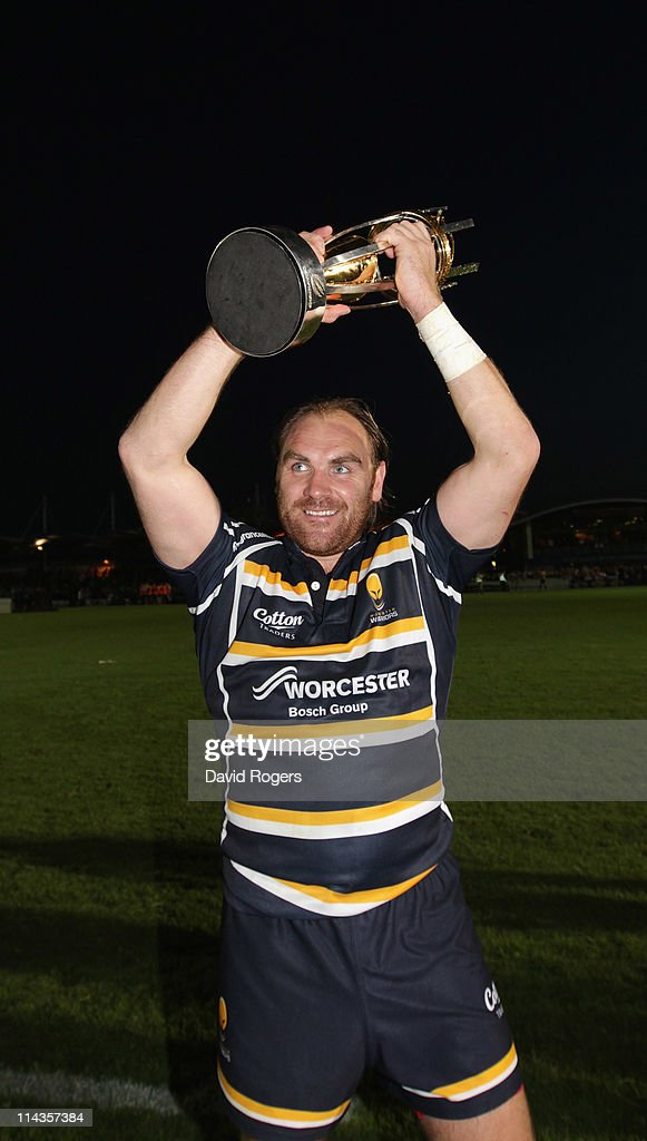 Andy Goode celebrates Worcester's promotion to the Aviva Premiership after their victory during the RFU Championship play off second leg match...