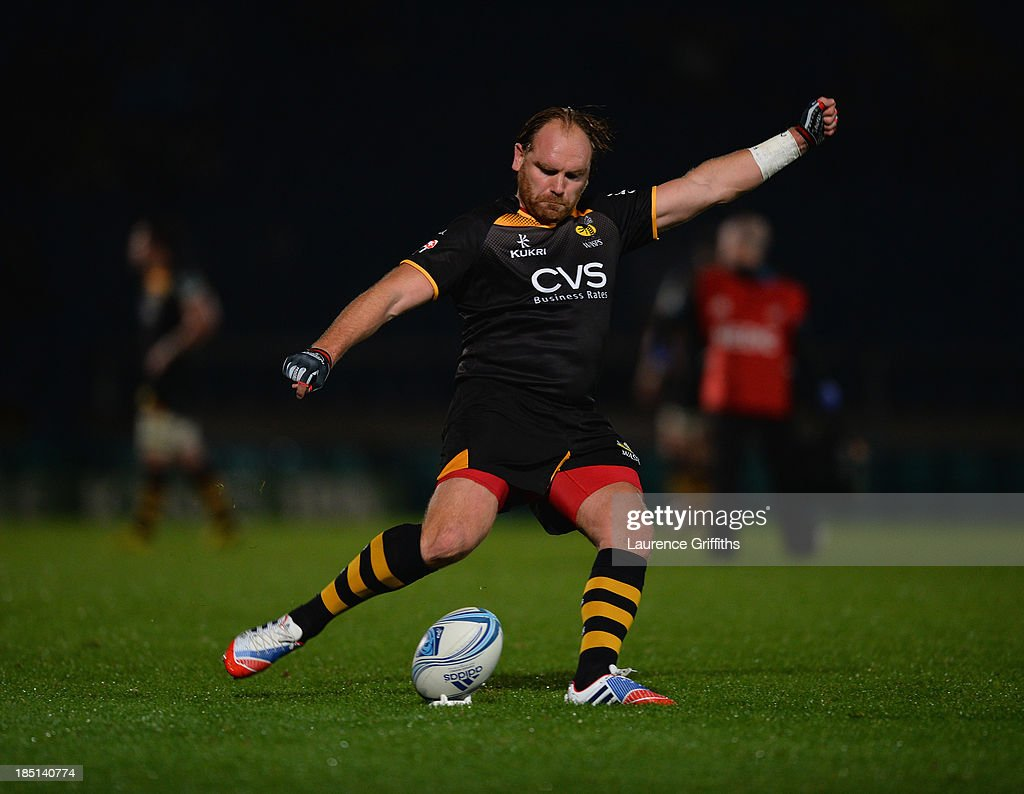 <a gi-track='captionPersonalityLinkClicked' href=/galleries/search?phrase=Andy+Goode&family=editorial&specificpeople=211564 ng-click='$event.stopPropagation()'>Andy Goode</a> of London Wasps in action during the Amlin Challenge Cup round two match between London Wasps and Bayonne at Adams Park on October 17, 2013 in High Wycombe, England.