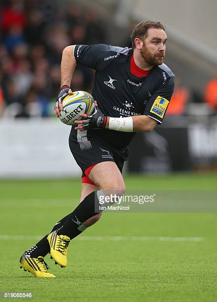 Andy Goode of Newcastle Falcons runs with the ball during the Aviva Premiership match between Newcastle Falcons and Wasps at Kingston Park on March...