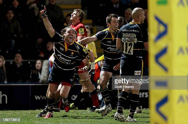 Andy Goode of Worcester celebrates after the final whistle during the Aviva Premiership match between Worcester Warriors and Saracens at Sixways...