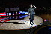 Andy Grammer sings the National Anthem before Game Five of the 2016 NBA Finals between the Cleveland Cavaliers and the Golden State Warriors on June...