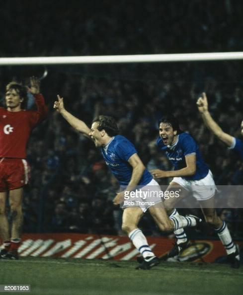 Andy Gray celebrates after scoring Everton's 2nd goal during their European Cup Winners Cup SemiFinal 2nd leg against Bayern Munich at Goodison Park...