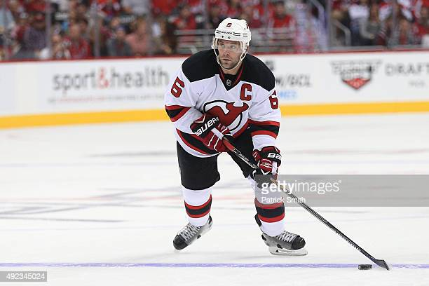 Andy Greene of the New Jersey Devils in action against the Washington Capitals at Verizon Center on October 10 2015 in Washington DC The Washington...