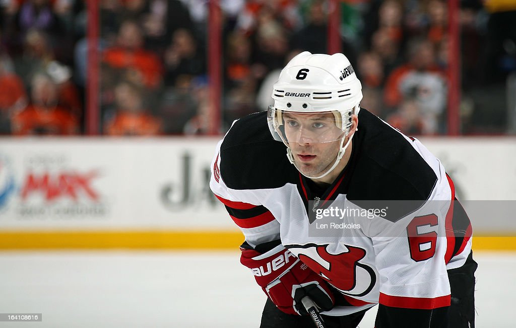 Andy Greene #6 of the New Jersey Devils looks on against the Philadelphia Flyers on March 15, 2013 at the Wells Fargo Center in Philadelphia, Pennsylvania.