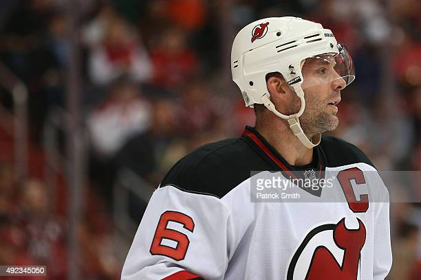 Andy Greene of the New Jersey Devils looks on against the Washington Capitals at Verizon Center on October 10 2015 in Washington DC The Washington...