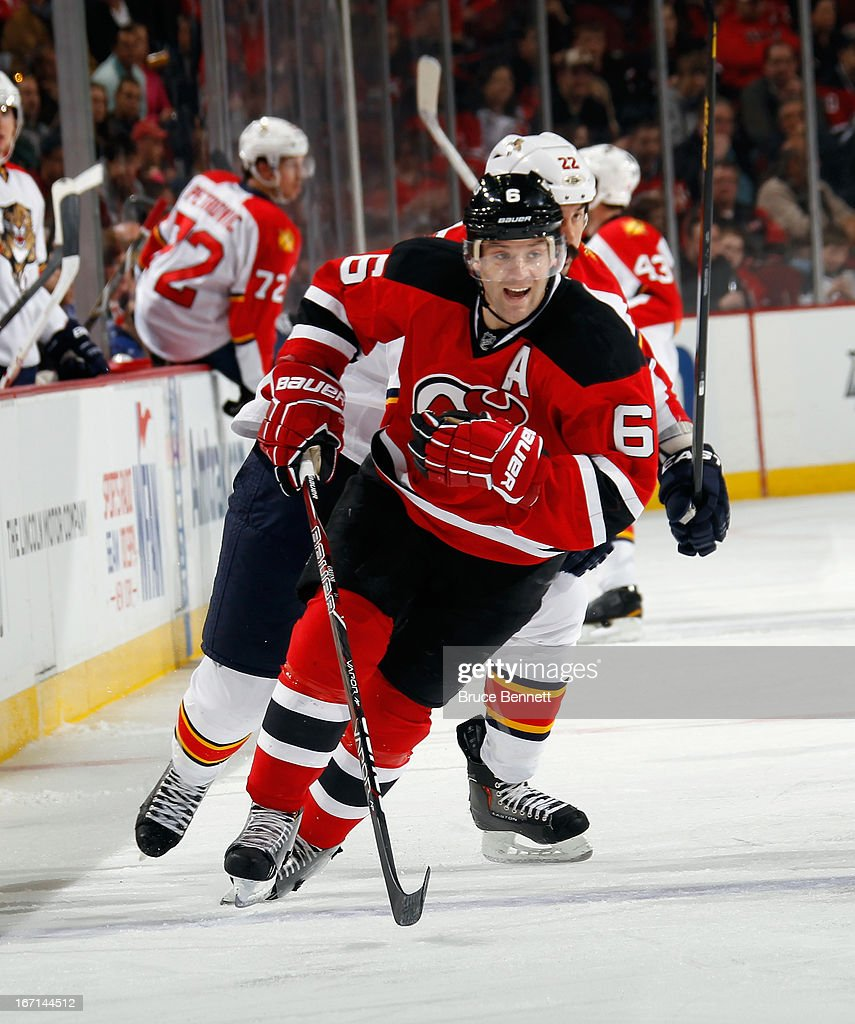 <a gi-track='captionPersonalityLinkClicked' href=/galleries/search?phrase=Andy+Greene&family=editorial&specificpeople=3568726 ng-click='$event.stopPropagation()'>Andy Greene</a> #6 of the New Jersey Devils skates against the Florida Panthers at the Prudential Center on April 20, 2013 in Newark, New Jersey. The Devils defeated the Panthers 6-2,