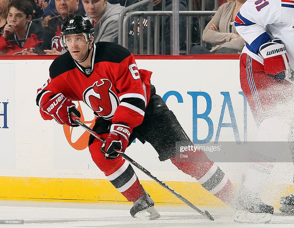 <a gi-track='captionPersonalityLinkClicked' href=/galleries/search?phrase=Andy+Greene&family=editorial&specificpeople=3568726 ng-click='$event.stopPropagation()'>Andy Greene</a> #6 of the New Jersey Devils skates against the New York Rangers at the Prudential Center on March 19, 2013 in Newark, New Jersey.