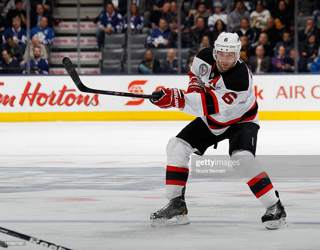 <a gi-track='captionPersonalityLinkClicked' href=/galleries/search?phrase=Andy+Greene&family=editorial&specificpeople=3568726 ng-click='$event.stopPropagation()'>Andy Greene</a> #6 of the New Jersey Devils skates against the Toronto Maple Leafs at the Air Canada Centre on November 8, 2013 in Toronto, Canada. The Maple Leafs defeated the Devils 2-1 in the shootout.