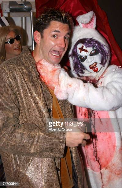 Andy Hallett and bad bunny at the Santa Monica Blvd and San Vicente Blvd in West Hollywood California