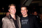 Andy Hallett and David Boreanaz of 'Angel' during KTLA and The WB Host Wednesday Season Premiere Party for 'Angel' and 'Smallville' at The Grove in...