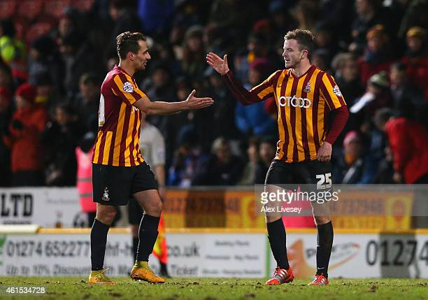 Andy Halliday of Bradford City celebrates after scoring the third goal during the FA Cup Third Round Replay match between Bradford City and Millwall...