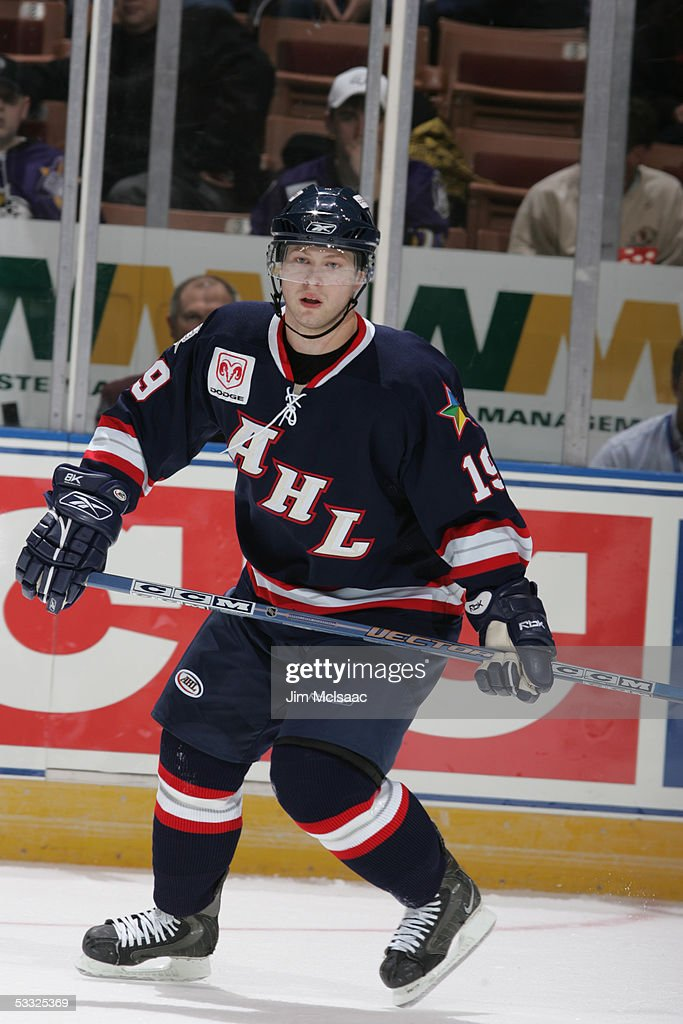 Andy Hilbert of the Planet USA All Stars on the ice during the AHL AllStar Game at Verizon Wireless Arena Manchester New Hampshire February 14 2005