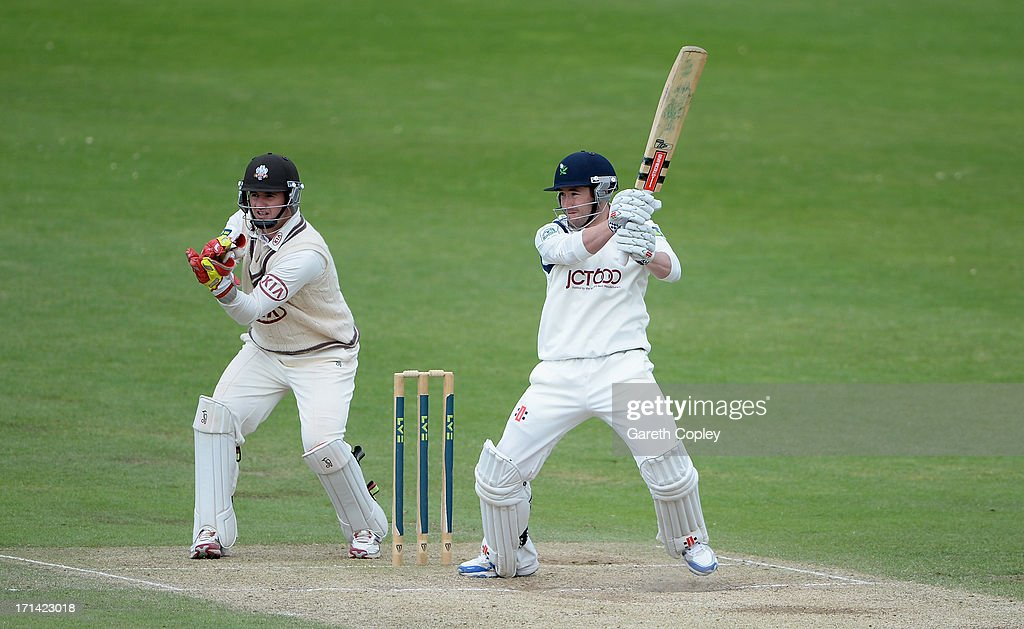 Andy Hodd of Yorkshire bats during day four of the LV County Championship Division One match between Yorkshire and Surrey at Headingley on June 24, 2013 in Leeds, England.