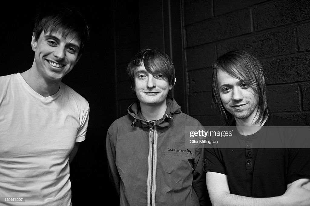 Image has been converted to black and white) Andy Hopkins, Tom Clarke and Liam Watts of The Enemy poses for a photograph backstage at o2 Academy on February 25, 2013 in Leicester, England.
