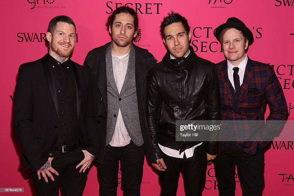 Andy Hurley, <a gi-track='captionPersonalityLinkClicked' href=/galleries/search?phrase=Joe+Trohman&family=editorial&specificpeople=557077 ng-click='$event.stopPropagation()'>Joe Trohman</a>, <a gi-track='captionPersonalityLinkClicked' href=/galleries/search?phrase=Pete+Wentz&family=editorial&specificpeople=595892 ng-click='$event.stopPropagation()'>Pete Wentz</a>, and <a gi-track='captionPersonalityLinkClicked' href=/galleries/search?phrase=Patrick+Stump&family=editorial&specificpeople=557078 ng-click='$event.stopPropagation()'>Patrick Stump</a> of Fall Out Boy attend the after party for the 2013 Victoria's Secret Fashion Show at TAO Downtown on November 13, 2013 in New York City.