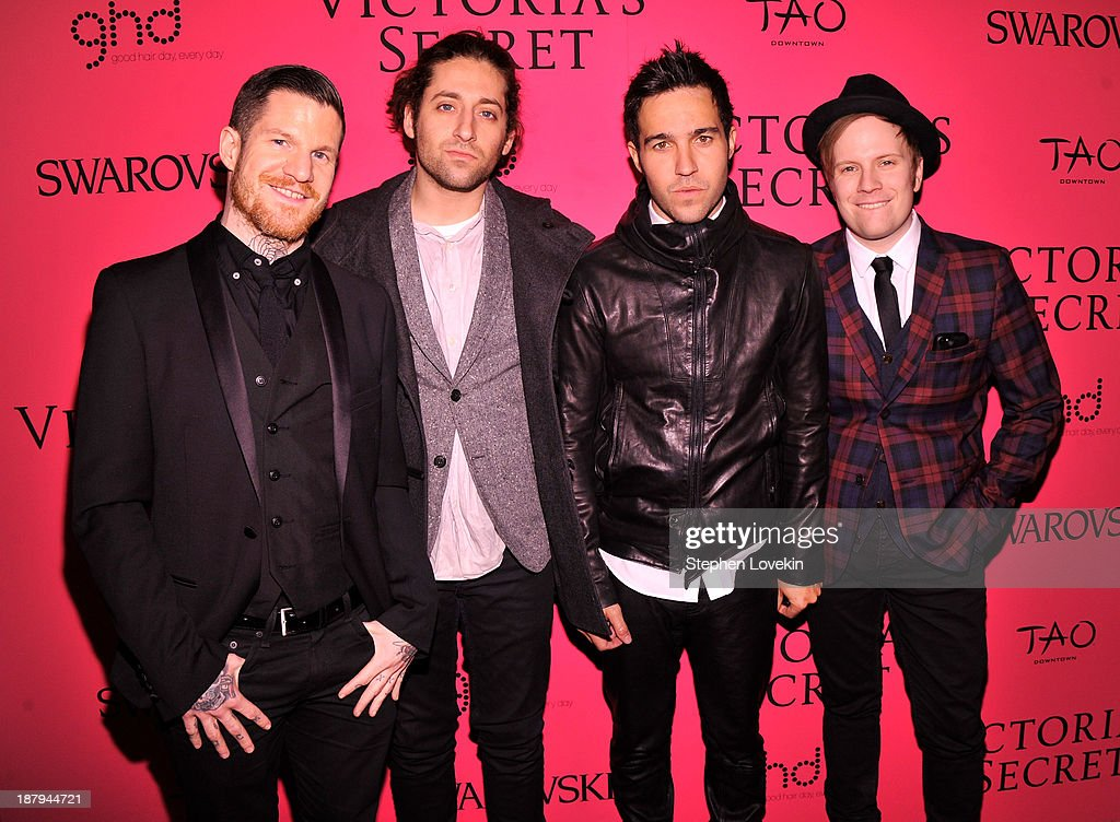 Andy Hurley, <a gi-track='captionPersonalityLinkClicked' href=/galleries/search?phrase=Joe+Trohman&family=editorial&specificpeople=557077 ng-click='$event.stopPropagation()'>Joe Trohman</a>, <a gi-track='captionPersonalityLinkClicked' href=/galleries/search?phrase=Pete+Wentz&family=editorial&specificpeople=595892 ng-click='$event.stopPropagation()'>Pete Wentz</a>, and <a gi-track='captionPersonalityLinkClicked' href=/galleries/search?phrase=Patrick+Stump&family=editorial&specificpeople=557078 ng-click='$event.stopPropagation()'>Patrick Stump</a> of Fall Out Boy attend the 2013 Victoria's Secret Fashion Show at TAO Downtown on November 13, 2013 in New York City.