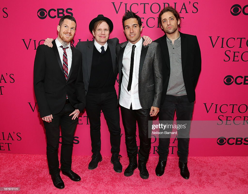 Andy Hurley, <a gi-track='captionPersonalityLinkClicked' href=/galleries/search?phrase=Patrick+Stump&family=editorial&specificpeople=557078 ng-click='$event.stopPropagation()'>Patrick Stump</a>, <a gi-track='captionPersonalityLinkClicked' href=/galleries/search?phrase=Pete+Wentz&family=editorial&specificpeople=595892 ng-click='$event.stopPropagation()'>Pete Wentz</a> and <a gi-track='captionPersonalityLinkClicked' href=/galleries/search?phrase=Joe+Trohman&family=editorial&specificpeople=557077 ng-click='$event.stopPropagation()'>Joe Trohman</a> of Fall Out Boy attend the 2013 Victoria's Secret Fashion Show at Lexington Avenue Armory on November 13, 2013 in New York City.